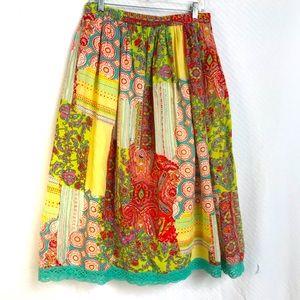 Vintage boho gypsy patchwork print skirt